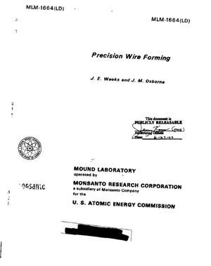 Primary view of object titled 'Precision Wire Forming'.