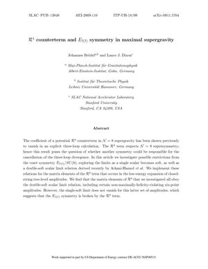Primary view of object titled 'R^4 Counterterm and E_{7(7)} Symmetry in Maximal Supergravity'.