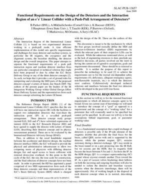 Primary view of object titled 'Functional Requirements on the Design of the Detectors and the Interaction Region of an e e- Linear Collider with a Push-Pull Arrangement of Detectors'.