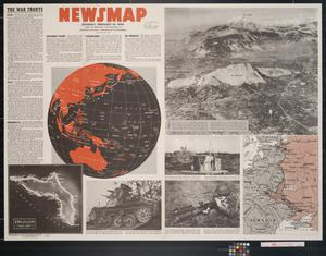 Primary view of object titled 'Newsmap. Monday, February 14, 1944 : week of February 3 to February 10, 231st week of the war, 113th week of U.S. participation'.