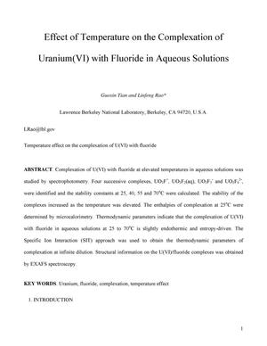 Primary view of object titled 'Effect of temperature on the complexation of Uranium(VI) with fluoride in aqueous solutions'.