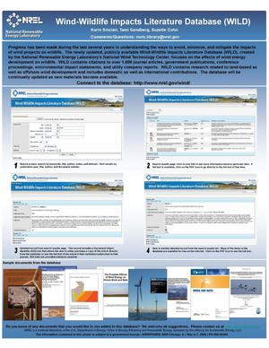 Primary view of object titled 'Wind-Wildlife Impacts Literature Database (WILD) (Poster)'.