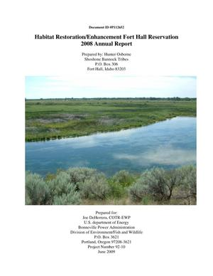 Primary view of object titled 'Habitat Restoration/Enhancement Fort Hall Reservation : 2008 Annual Report.'.