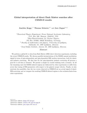 Primary view of object titled 'Global interpretation of direct Dark Matter searches after CDMS-II results'.