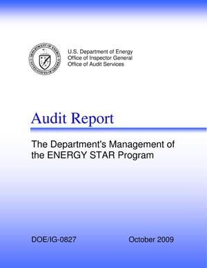 "Primary view of object titled 'Audit Report on ""The Department's Management of the ENERGY STAR Program""'."