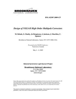 Primary view of object titled 'Design of NSLS-II High Order Multipole Correctors'.