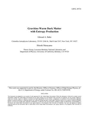 Primary view of object titled 'Gravitino Warm Dark Matter with Entropy Production'.