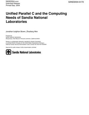 Primary view of object titled 'Unified parallel C and the computing needs of Sandia National Laboratories.'.