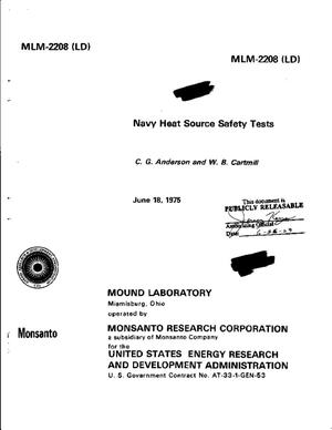 Primary view of object titled 'Navy Heat Source Safety Tests'.