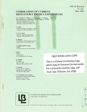 Primary view of object titled 'COMPILATION OF CURRENT HIGH ENERGY PHYSICS EXPERIMENTS'.