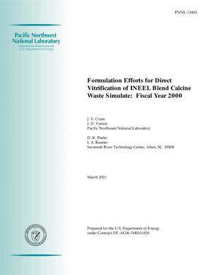 Primary view of object titled 'Formulation Efforts for Direct Vitrification of INEEL Blend Calcine Waste Simulate: Fiscal Year 2000'.
