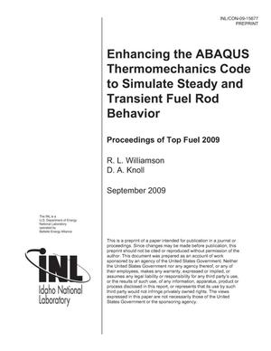 Primary view of object titled 'Enhancing the ABAQUS Thermomechanics Code to Simulate Steady and Transient Fuel Rod Behavior'.