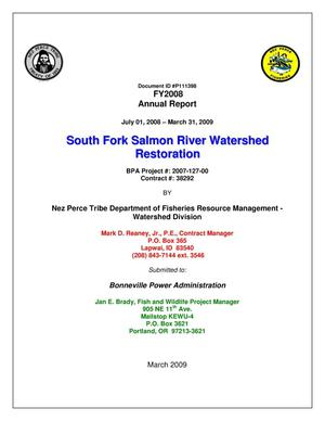 Primary view of object titled 'South Fork Salmon River Watershed Restoration, 2008-2009 Annual Report.'.
