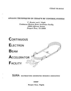 Primary view of object titled 'Analog Techniques in CEBAF's RF Control System'.