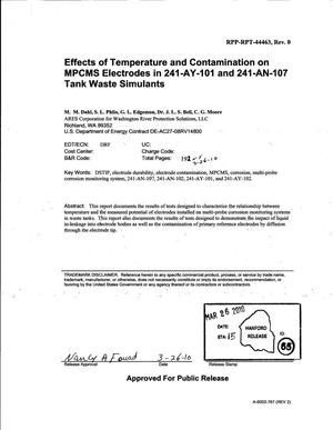 Primary view of object titled 'EFFECTS OF TEMPERATURE AND CONTAMINATION ON MPCMS ELECTRODES IN 241-AY-101 AND 241-AN-107 TANK WASTE SIMULANTS'.