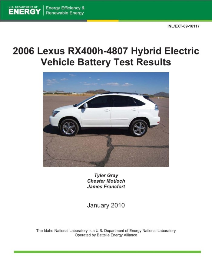 2006 Lexus Rx400h 4807 Hybrid Electric Vehicle Battery Test Results