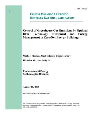 Primary view of object titled 'Control of Greenhouse Gas Emissions by Optimal DER Technology Investment and Energy Management in Zero-Net-Energy Buildings'.