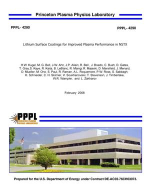 Primary view of object titled 'Lithium Surface Coatings for Improved Plasma Performance in NSTX'.