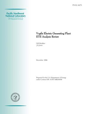 Primary view of object titled 'Vogtle Electric Generating Plant ETE Analysis Review'.