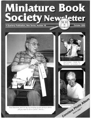 Primary view of object titled 'Miniature Book Society Newsletter 2000 October'.