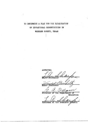 Primary view of object titled 'To determine a plan for the equalization of educational opportunities in Wheeler County, Texas'.