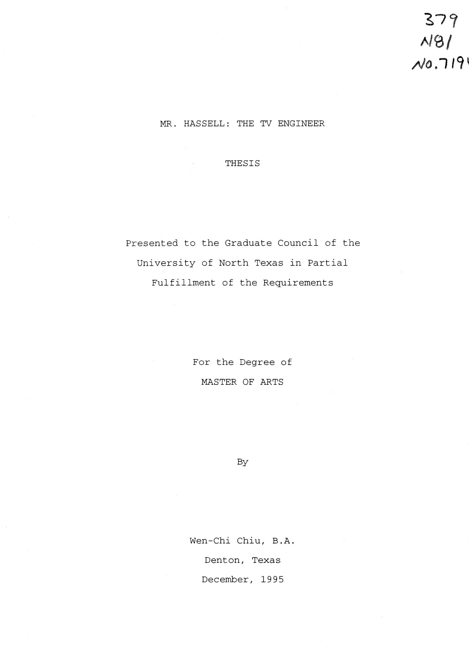 Mr. Hassell: the TV engineer                                                                                                      Title Page