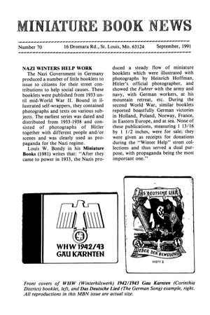 Primary view of object titled 'Miniature Book News # 70: 1991 September'.