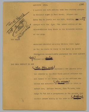 Primary view of object titled '[News Script: Man-wife trial]'.