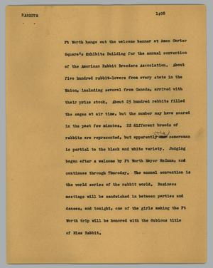 Primary view of object titled '[News Script: Rabbits]'.