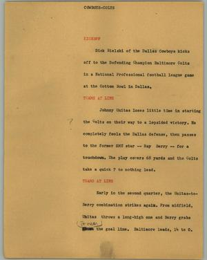 Primary view of object titled '[News Script: Cowboys-Colts]'.