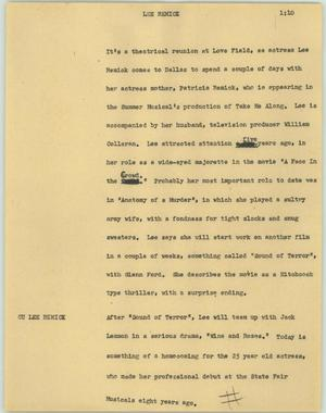 Primary view of object titled '[News Script: Lee Remick]'.