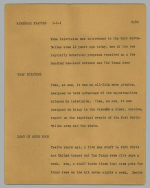 Primary view of object titled '[News Script: Newsroom feature]'.