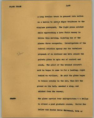 Primary view of object titled '[News Script: Plane crash ]'.
