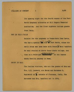 Primary view of object titled '[News Script: Italians at concert]'.