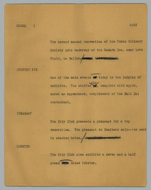 Primary view of object titled '[News Script: Cooks]'.