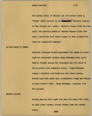 Primary view of object titled '[News Script: Smith mistrial]'.