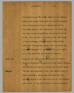 Primary view of object titled '[News Script: Counterfeit]'.