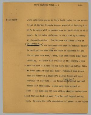 Primary view of object titled '[News Script: Wife beaters trial]'.