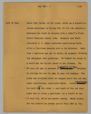 Primary view of object titled '[News Script: Bad cop]'.