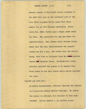 Primary view of object titled '[News Script: Robber caught]'.