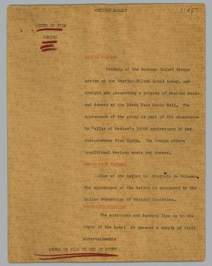 Primary view of object titled '[News Script: Mexican ballet]'.
