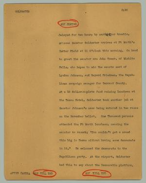 Primary view of object titled '[News Script: Goldwater]'.