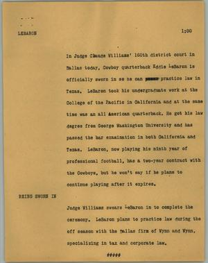 Primary view of object titled '[News Script: Lebran]'.