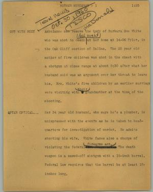 Primary view of object titled '[News Script: Mother murdered]'.