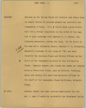 Primary view of object titled '[News Script: Navy boss]'.