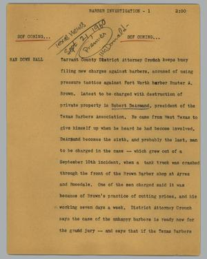 Primary view of object titled '[News Script: Barber investigation]'.
