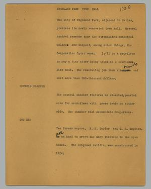 Primary view of object titled '[News Script: Highland Park town hall]'.