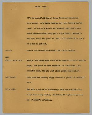 Primary view of object titled '[News Script: Sadie]'.