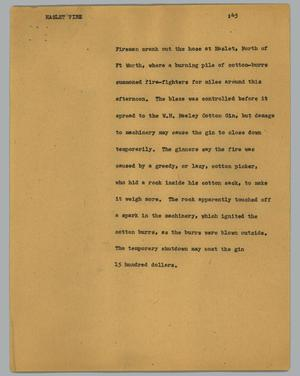 Primary view of object titled '[News Script: Haslet fire]'.
