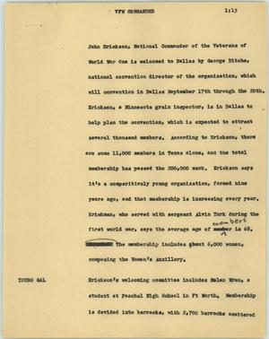 Primary view of object titled '[News Script: VFW commander]'.